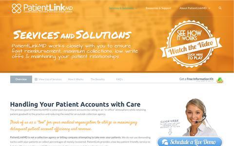 Screenshot of Services Page patientlink.md - Services & Solutions: Past Due Patient Accounts | PatientLinkMD - captured Jan. 26, 2016