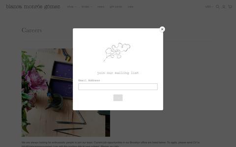 Screenshot of Jobs Page blancamonrosgomez.com - Careers                         – blanca monrós gómez - captured Nov. 13, 2018