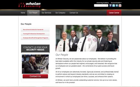 Screenshot of Team Page whelansecurity.com - Private Security Jobs | Security Officer Jobs | Whelan Security - captured Jan. 17, 2018