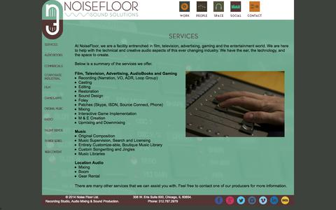 Screenshot of Services Page noise-floor.com - Services- Sound, Audio and Music Production - NoiseFloor Sound Production Studio - captured Oct. 7, 2014