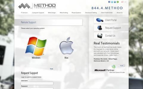 Screenshot of Support Page mtinc.net - Method Technologies | Support - captured Nov. 17, 2015