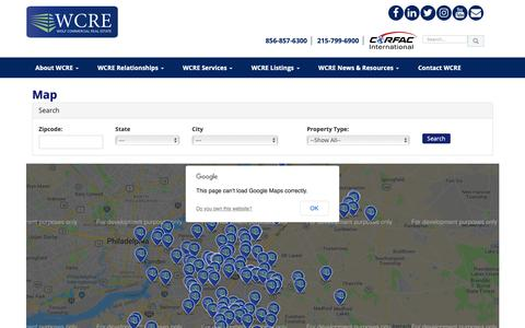 Screenshot of Maps & Directions Page wolfcre.com - Map   Wolf Commercial Real Estate   South Jersey   Philadelphia PA - captured Oct. 18, 2018