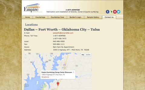 Screenshot of Locations Page empirefab.com - Locations - Empire Countertops - captured Oct. 2, 2014
