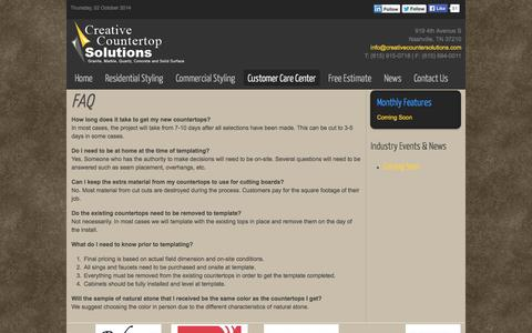 Screenshot of FAQ Page creativecountersolutions.com - FAQ - Creative Countertop Solutions - captured Oct. 2, 2014