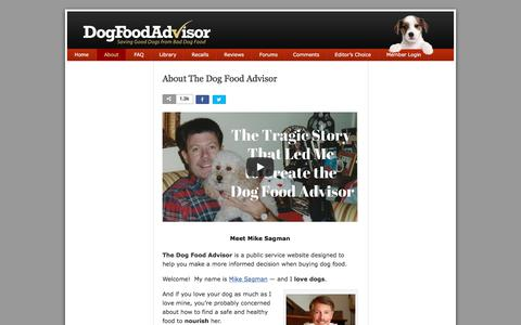 Screenshot of About Page dogfoodadvisor.com - About Mike Sagman and The Dog Food Advisor - captured March 23, 2018