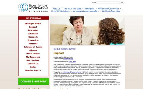Screenshot of Support Page biami.org - Support - Brain Injury Association of Michigan - captured Feb. 8, 2016