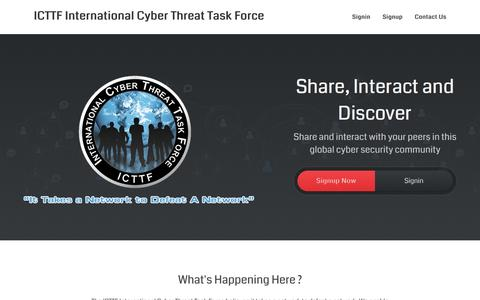 Screenshot of Home Page icttf.org - ICTTF International Cyber Threat Task Force - ICTTF - International Cyber Threat Task Force - captured Jan. 15, 2016