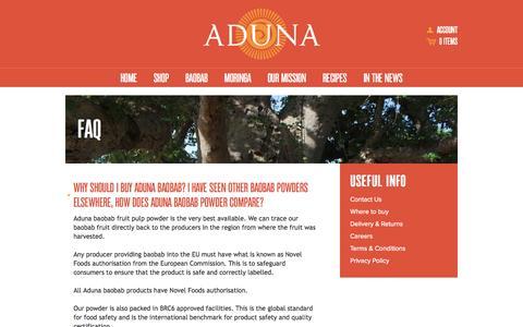 Screenshot of FAQ Page aduna.com - FAQ – Aduna - captured Oct. 4, 2014