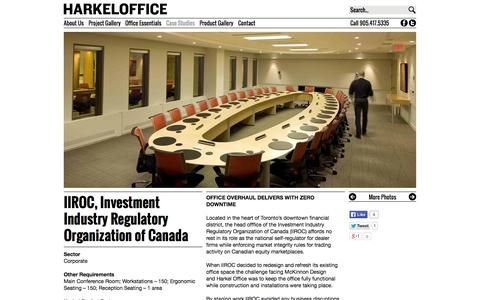 Screenshot of Case Studies Page harkeloffice.com - IIROC, Investment Industry Regulatory Organization of Canada | Harkel Office Furniture Ltd. - captured Oct. 1, 2014