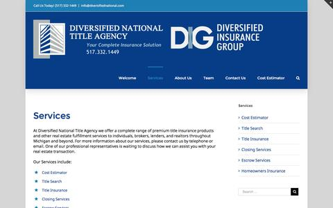 Screenshot of Services Page diversifiednational.com - Services – Diversified National Title Agency - captured Nov. 24, 2016