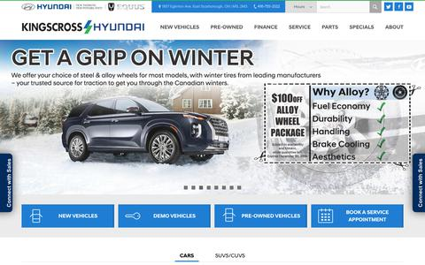 Screenshot of Home Page kingscrosshyundai.ca - Scarborough Hyundai Dealership | Kingscross Hyundai Dealer Ontario - captured Jan. 17, 2020