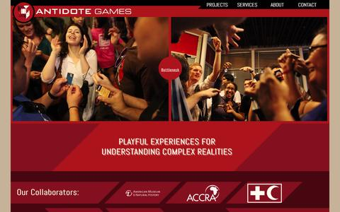 Screenshot of Home Page playistheantidote.com - Antidote Games - Understand Complex Realities Through Play - captured Oct. 4, 2014