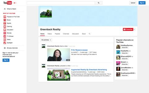 Screenshot of YouTube Page youtube.com - Greenback Reality  - YouTube - captured Oct. 23, 2014