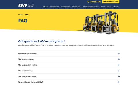 Screenshot of FAQ Page statewideforklifts.com.au - FAQ - Statewide Forklifts - captured Oct. 20, 2018