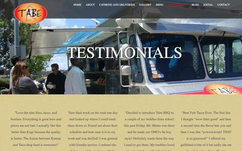 Screenshot of Testimonials Page tabebbq.com - Testimonials - Tabe BBQ  Mobile Fusion Cuisine - captured Aug. 11, 2016