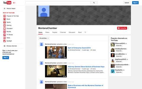 Screenshot of YouTube Page youtube.com - MontanaChamber  - YouTube - captured Nov. 5, 2014