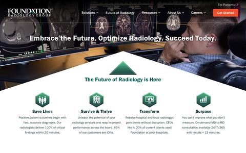 Screenshot of Home Page foundationradiologygroup.com - The Future of Radiology is here. Foundation Radiology Group. - captured May 9, 2017