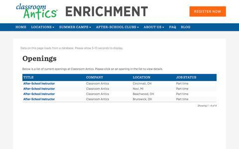 Screenshot of Jobs Page classroomantics.com - Jobs at Classroom Antics – Classroom Antics - captured July 18, 2018