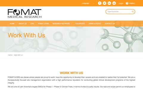 Screenshot of Jobs Page fomatmedical.com - Career Opportunities in Latin America Clinical Trials | FOMAT Medical - captured Oct. 13, 2017