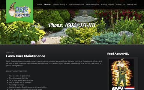 Screenshot of Services Page mymagicelves.com - Services - Magic Elves Landscaping - captured Nov. 12, 2018