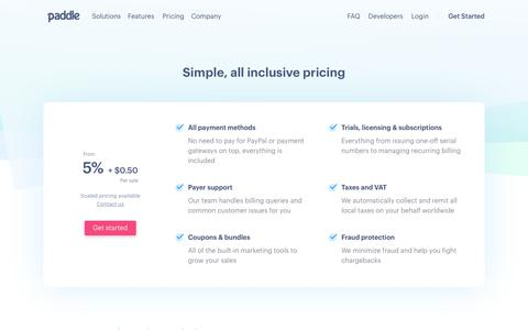 Screenshot of Pricing Page paddle.com - Paddle - Simple, all inclusive pricing - captured Sept. 16, 2017