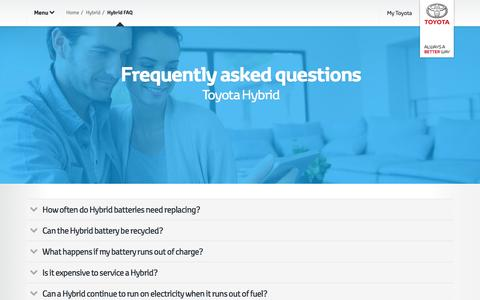 Screenshot of toyota-europe.com - Frequently asked questions around Toyota Hybrid - captured Aug. 4, 2016