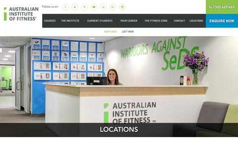 Screenshot of Locations Page fitness.edu.au - Campus Locations - Australian Institute of Fitness - captured Oct. 7, 2017
