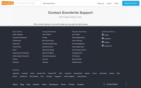 Screenshot of Contact Page eventbrite.com - Eventbrite - Contact Us - captured Feb. 5, 2016