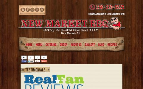 Screenshot of Testimonials Page newmarketbbq.com - New Market BBQ Customer Testimonials | New Market BBQ Best Old School Pit Smoked BBQ found in the New Market and Huntsville AL area. - captured Sept. 26, 2014