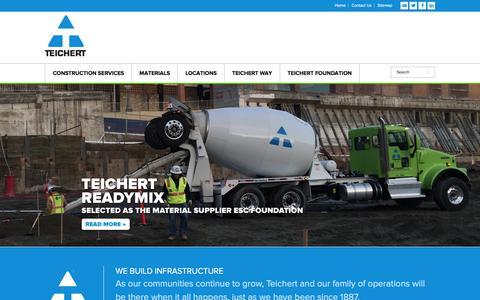 Screenshot of Home Page teichert.com - Teichert Construction - captured Jan. 10, 2016