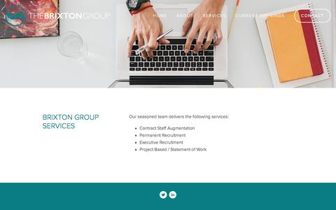 Screenshot of Services Page brixton.net - SERVICES — THE BRIXTON GROUP - captured Nov. 30, 2016