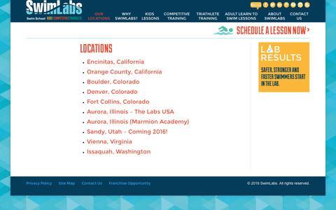 Screenshot of Locations Page swimlabs.com - Swimlabs Swimming Training Locations - Denver, Encinitas, Orange County, For Collins, Chicago - captured Jan. 12, 2016