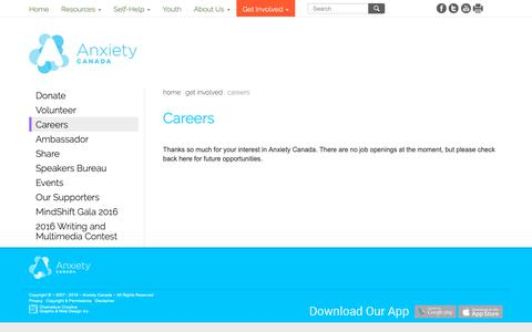 Screenshot of Jobs Page anxietycanada.com - Careers | Anxiety Canada - captured Oct. 2, 2018