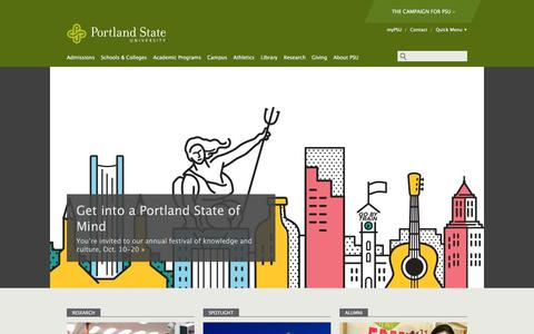 Screenshot of Home Page pdx.edu - Portland State University   Home - captured Oct. 11, 2019