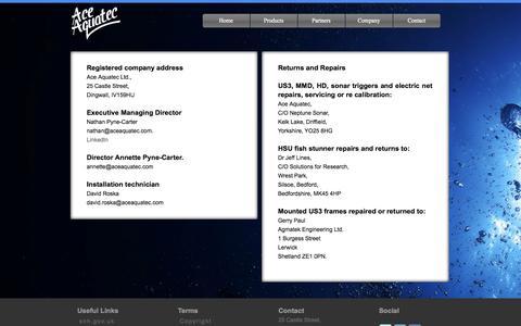Screenshot of Contact Page aceaquatec.com - Ace Aquatec | Home - captured Oct. 4, 2014