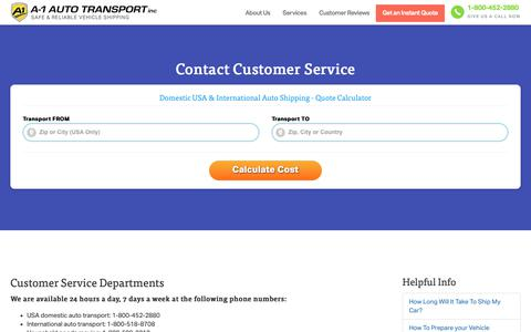 Screenshot of Support Page a1autotransport.com - Contact Customer Service - captured Oct. 3, 2018