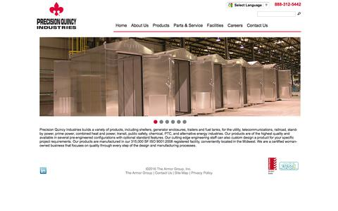 Screenshot of Home Page pqind.com - Precision Quincy Industries , part of The Armor Group, Mason, Ohio - captured Jan. 30, 2016