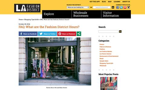 Screenshot of Hours Page fashiondistrict.org - LA Fashion District - captured Feb. 13, 2016