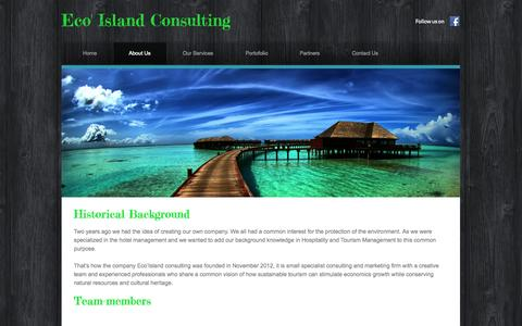 Screenshot of About Page weebly.com - About Us  - Eco' Island Consulting - captured Oct. 22, 2014
