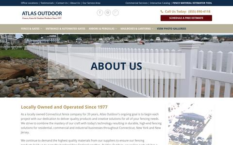Screenshot of About Page atlasoutdoor.com - CT Fence Company | Atlas Outdoor | Residential & Commercial - captured July 26, 2016
