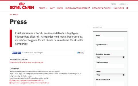 Screenshot of Press Page royalcanin.se - Press - Royal Canin - captured Oct. 6, 2014