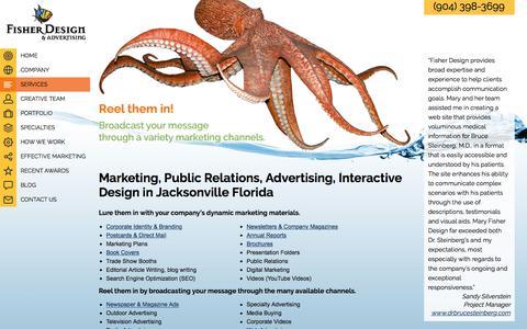 Screenshot of Services Page maryfisherdesign.com - Jacksonville FL marketing firm, corporate identity, public relations, marketing plans, strategy, digital marketing - captured June 10, 2017