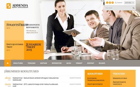 Screenshot of Home Page addenda.ee - koolitus, täienduskoolitus, Addenda, projekt, koolitusfirma,  - Addenda - captured Sept. 5, 2015