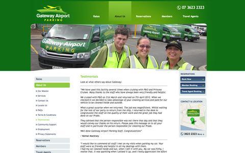 Screenshot of Testimonials Page gatewayairportparking.com.au - Customer Testimonials - Gateway Airport Parking - captured Sept. 29, 2014