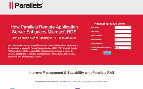Screenshot of Landing Page parallels.com - RDS - Remote Desktop Broker - captured Feb. 7, 2017