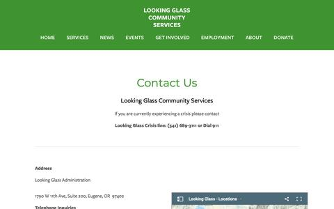 Screenshot of Contact Page lookingglass.us - Contact Us — Looking Glass Community Services - captured Sept. 30, 2018