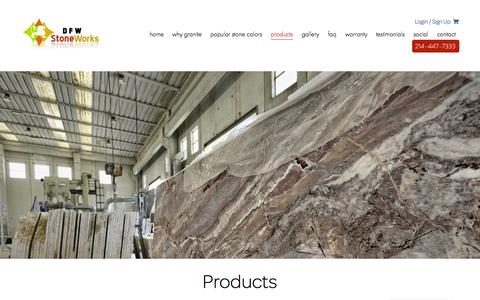 Screenshot of Products Page dfwstoneworks.com - Products - DFW StoneWorks - captured Oct. 29, 2014