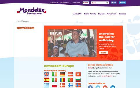 Screenshot of Press Page mondelezinternational.com - Newsroom   Europe   Mondelēz International, Inc. - captured Sept. 22, 2018