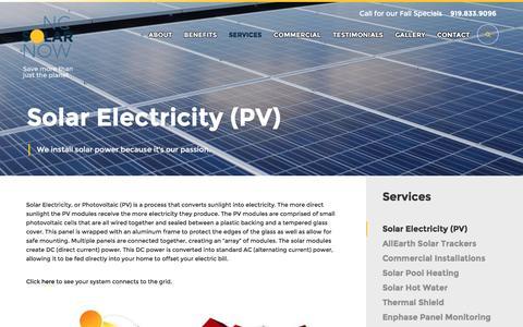 Screenshot of Services Page ncsolarnow.com - Solar Electricity (PV) - NC Solar Now - captured Nov. 29, 2016
