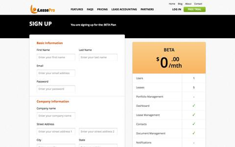 Screenshot of Signup Page Trial Page ileasepro.com - Cloud SaaS|Real Estate|Equipment|Lease Management and Accounting Solution|iLeasePro - captured Oct. 23, 2014